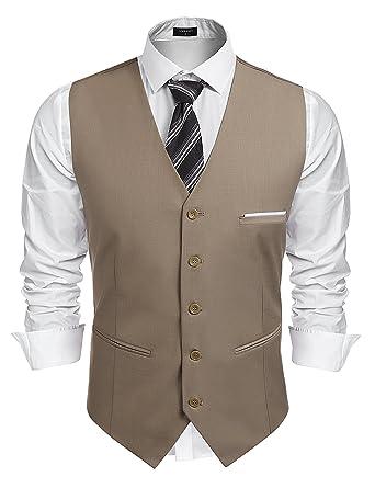 Wählen Sie für neueste beste Sammlung immer beliebt Coofandy Herren Weste Anzugweste Slim fit V-Ausschnitt Ärmellose mit 5  Knöpfen Gilet Business Casual Klassisch Basic Männer Anzugweste für Herren