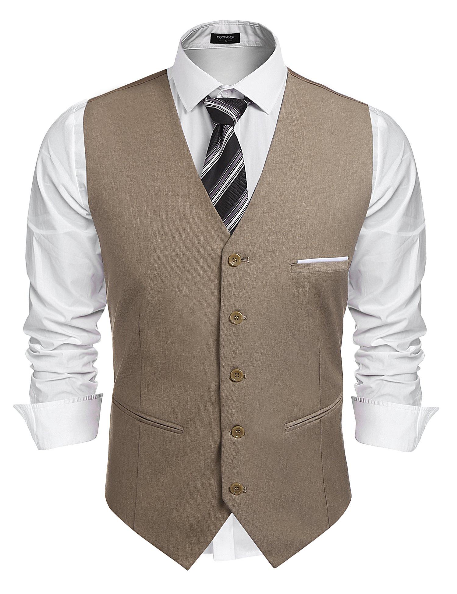 Simbama Men's Slim Fit V-Neck Business Dress Suit Vest Wedding Party Waistcoat
