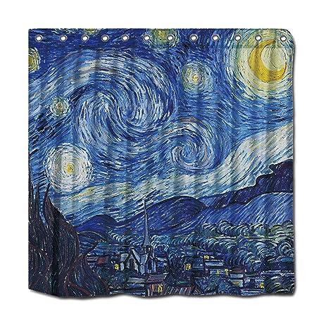 YYT Personalized Shower Curtains Vincent Van Gogh Starry Night Vintage Fine Art Curtain 72quot