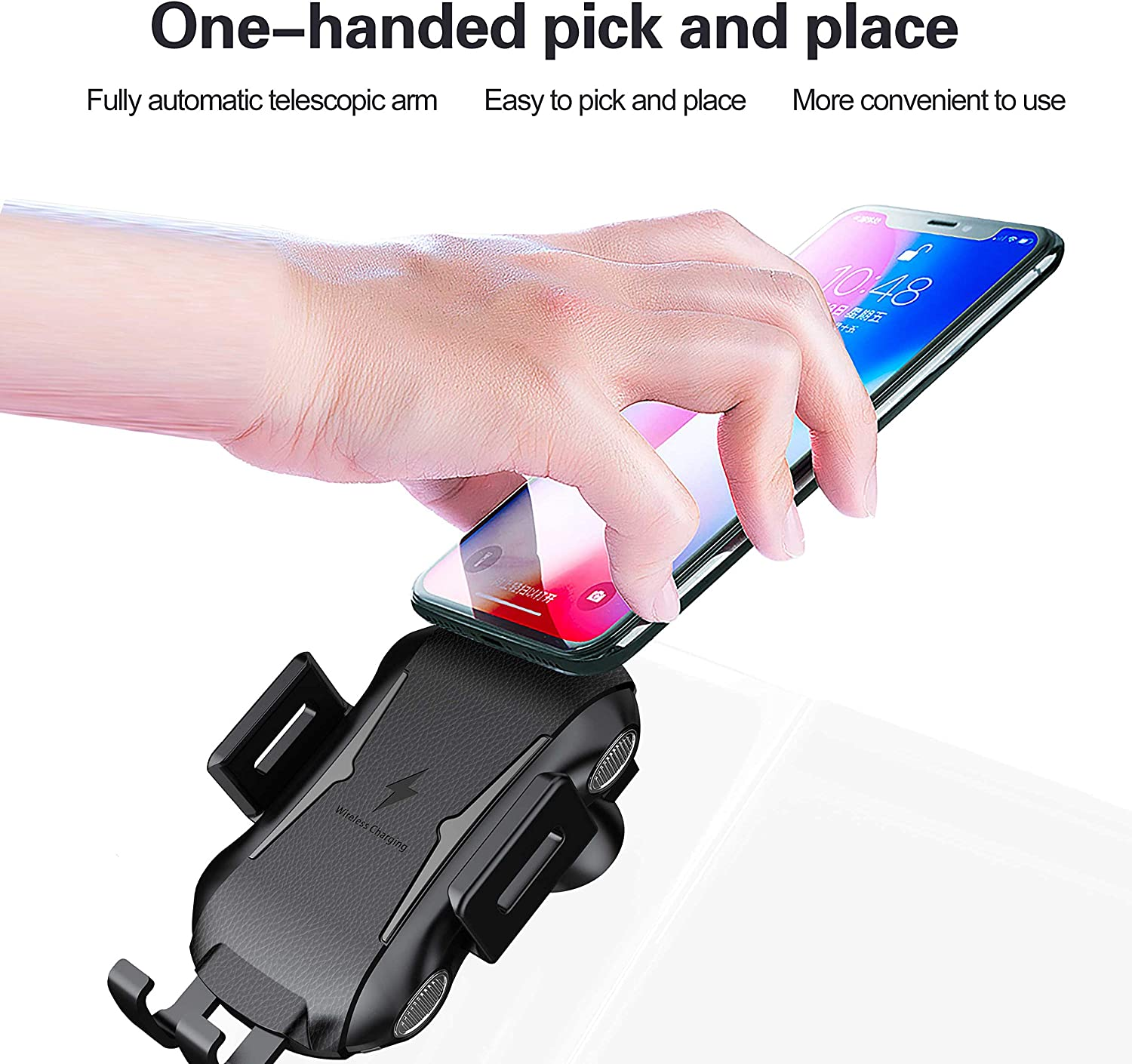 Wireless Car Charger, Air Vent Wireless Charger Holder with Fast Charging, Compatible with iPhone XS MAX XR X 8 8Plus Samsung S9 S8 Note and More, Anti-Slip Rubber and Soft Plastic Material Black