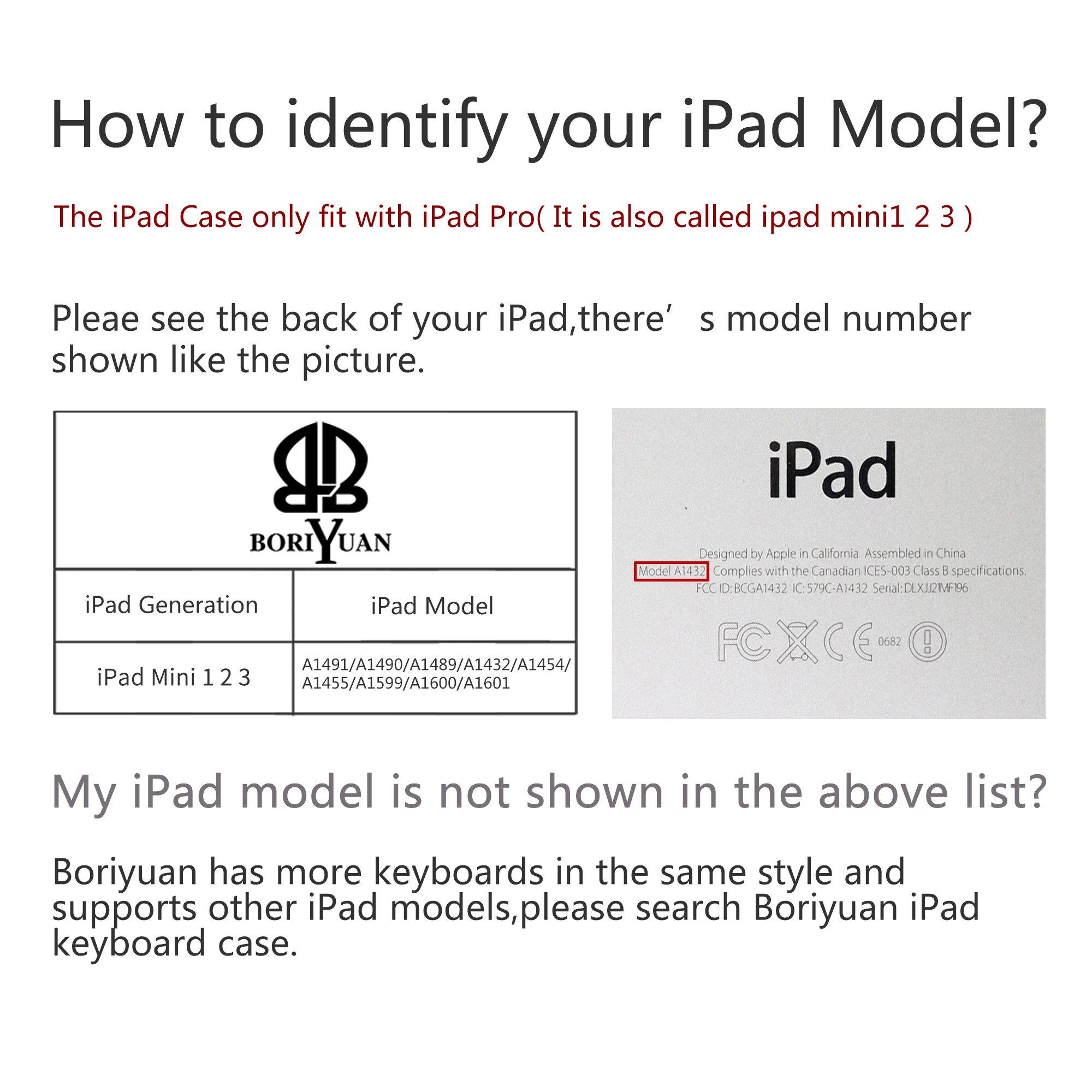 iPad Mini Keyboard Case,Boriyuan iPad Mini Smart Case Stand Folio Leather Cover with Detachable Wireless Bluetooth Keyboard and Screen Protector +Stylus for Apple iPad Mini 1/Mini 2/Mini 3 (Black) by Boriyuan (Image #7)