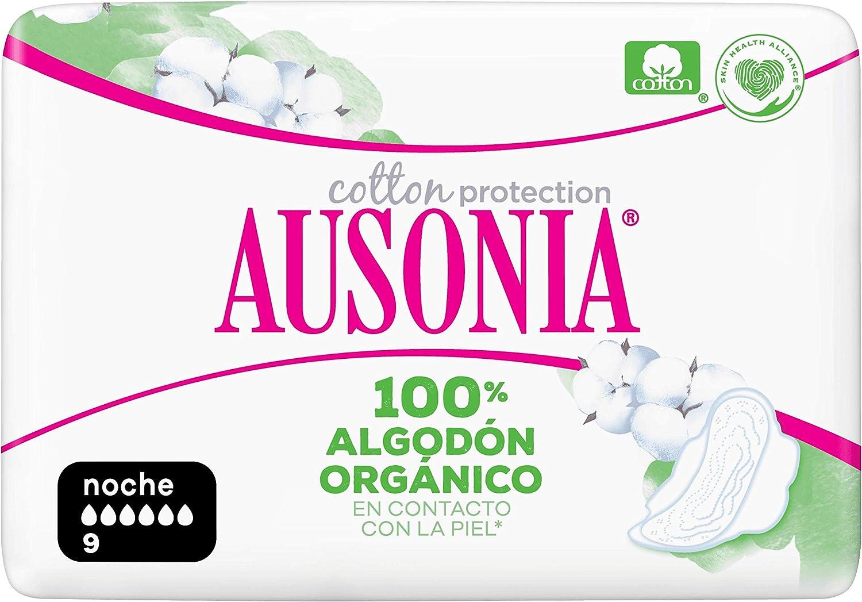 Ausonia Cotton Protection Noche (tamaño 3) Compresas Con Alas, 9 ...