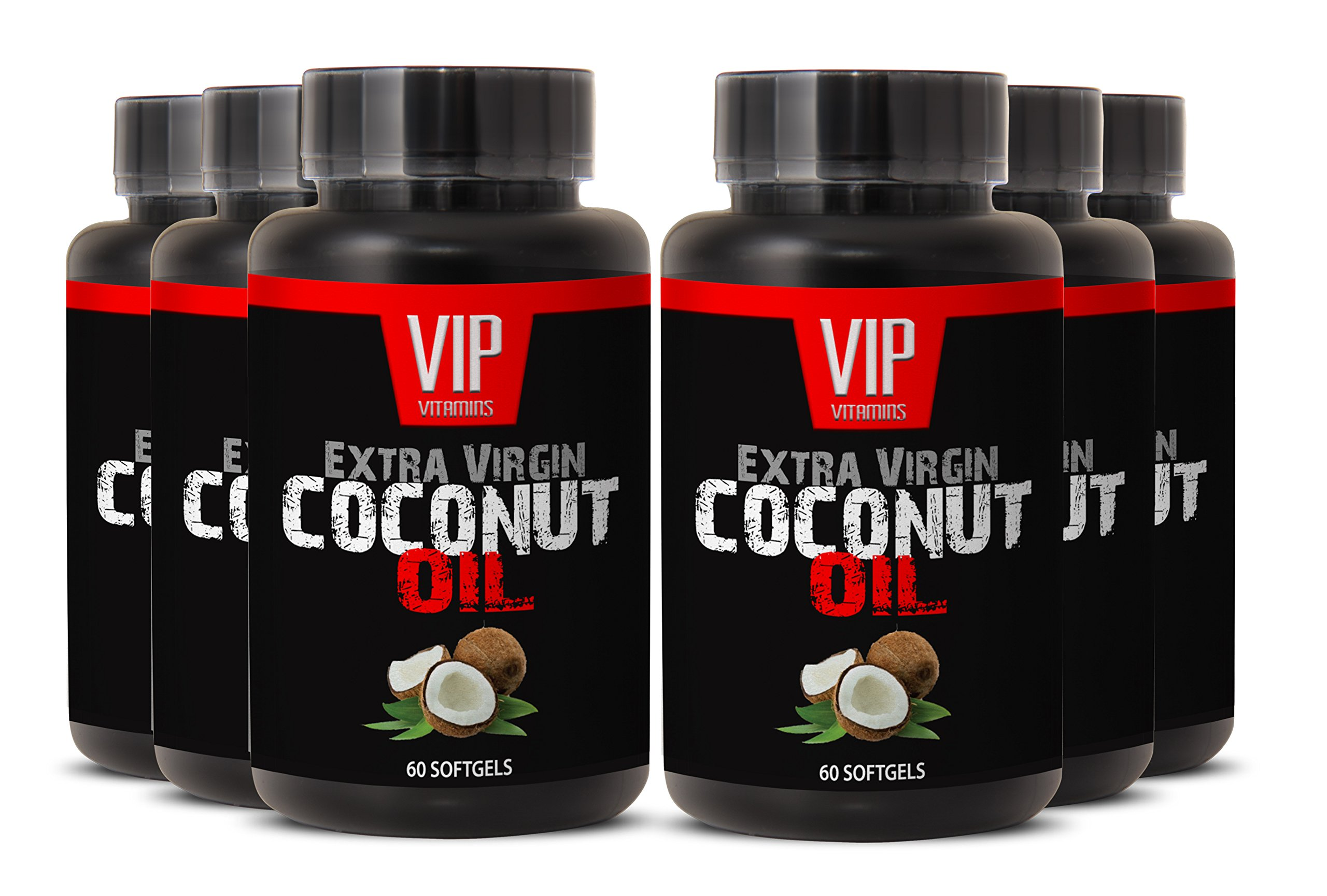 Natural Coconut Oil Supplement 3000mg For Loosing Weight (6 bottles 360 softgels)