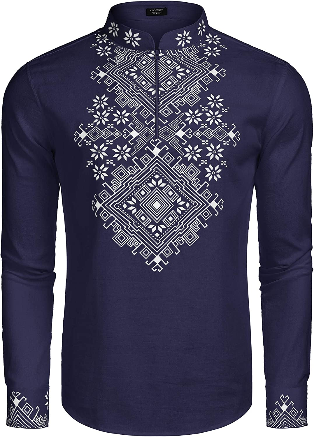 COOFANDY Men's Slim Fit Hippie Shirt Long Sleeve Floral Print Casual Zip Up Cotton Beach Party Henley T Shirt