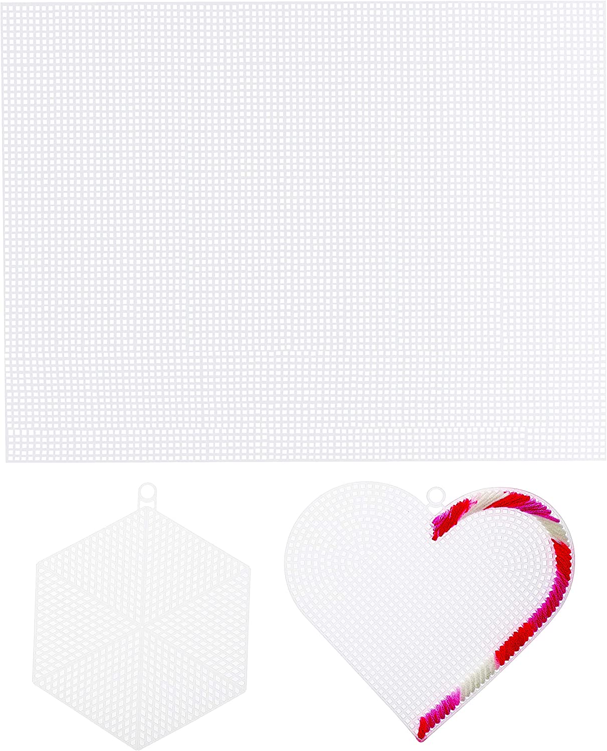 20 Square Sheets and 3 Hexagon Shapes Juvale 26-Pack Plastic Canvas Needlepoint Set 3 Heart