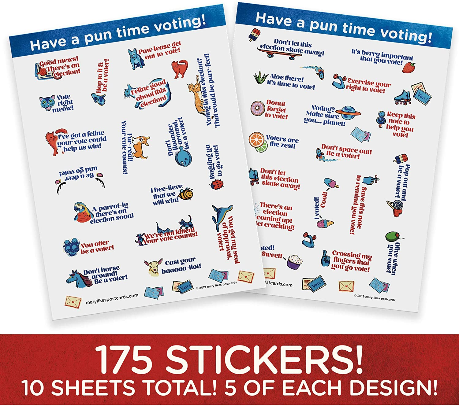 10 Sheets of Political Stickers with Lots of Election Puns Writing to Your reps or Getting Out The Vote Have a Pun time Voting Perfect for Your Postcards