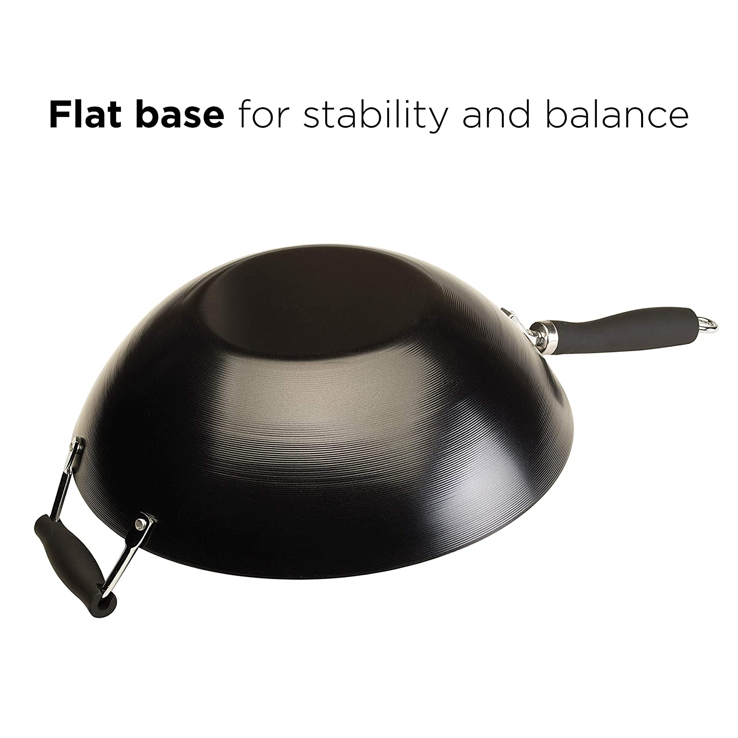 Ecolution Non-Stick Carbon Steel Wok with Soft Touch Riveted Handle 8,Black