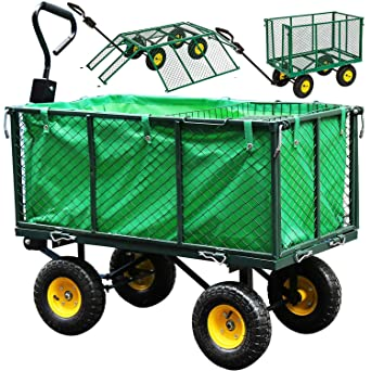 wolketon Carro para jardín Verde con ruedas carga máx de 550 kg carretilla de jardín con lona extraíble transporte fácil: Amazon.es: Industria, empresas y ciencia