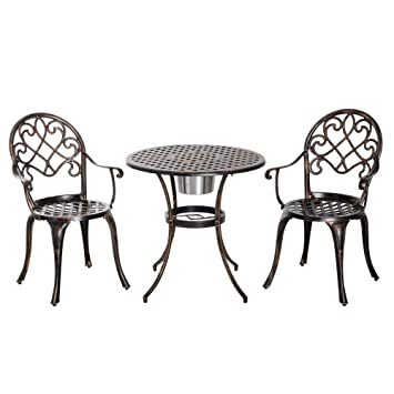 Outsunny Ensemble bistrot Style Colonial 2 chaises + Table ...