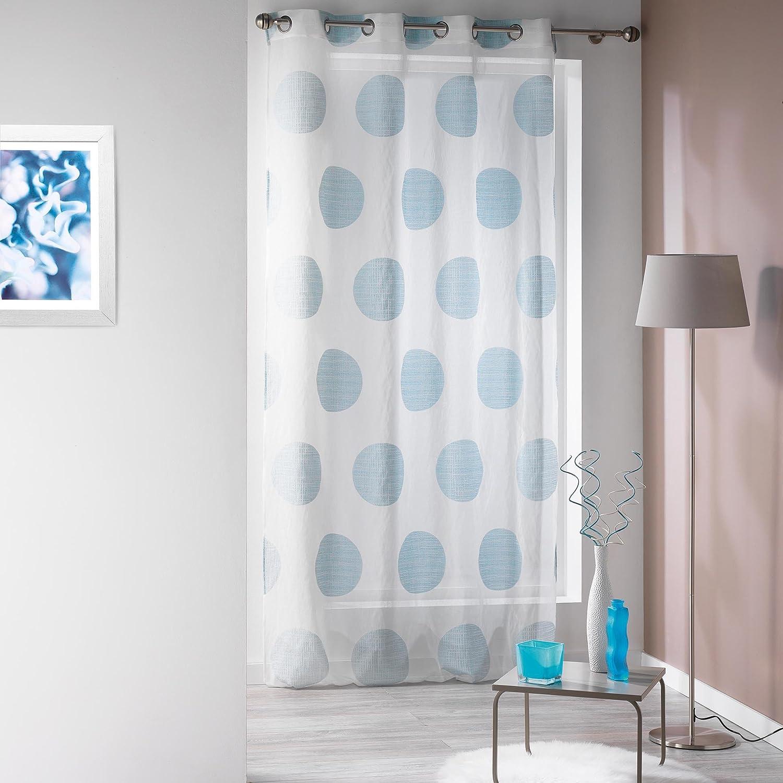 Douceur dInt/érieur Panneau Oeillet de Voilage Sable Jacquard Colline Bleu 140 x 240 x 240 cm