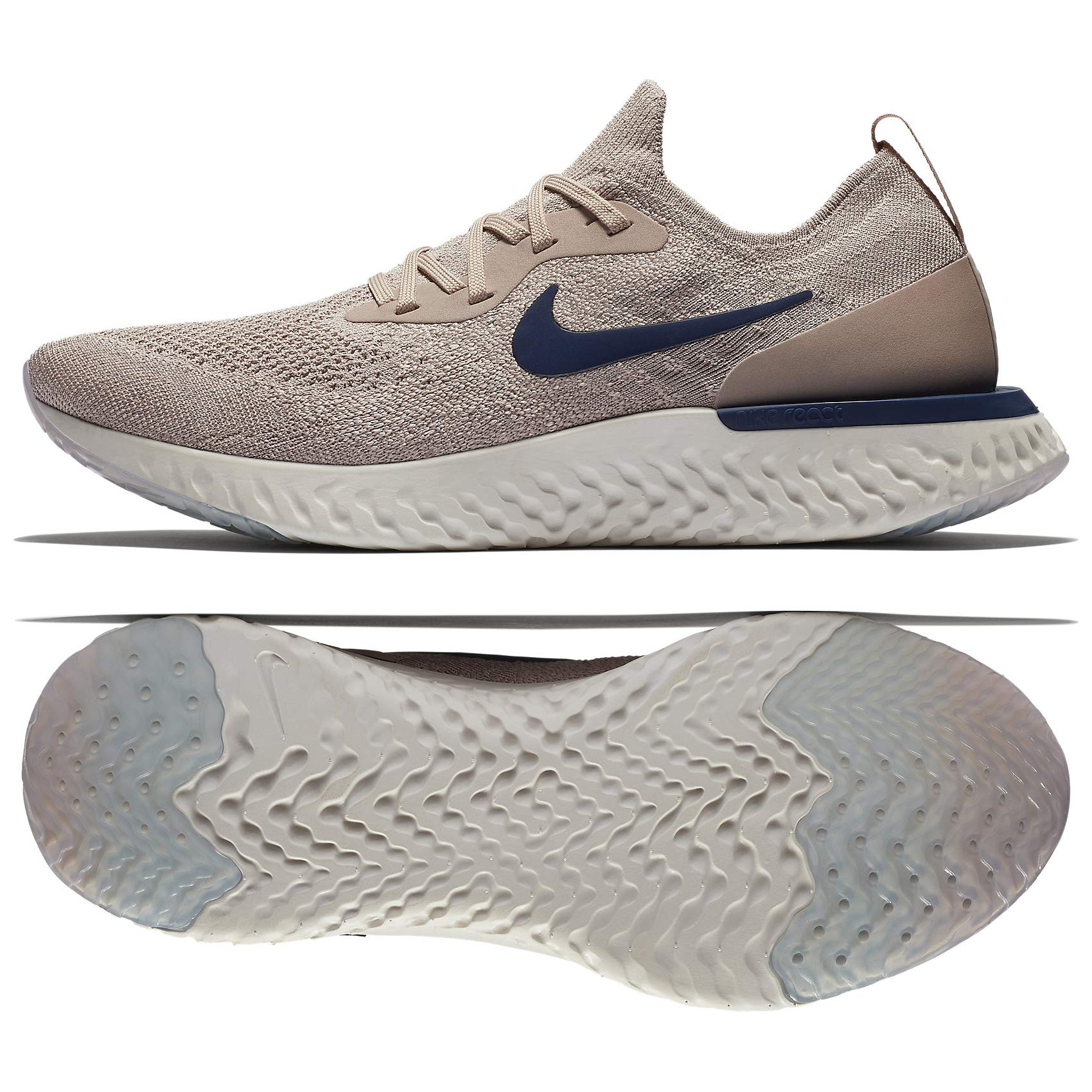 3f26e9ed60d8 Galleon - Nike Epic React Flyknit AQ0067-201 Diffused Taupe/Blue Void/ Phantom Men's Shoes (14)
