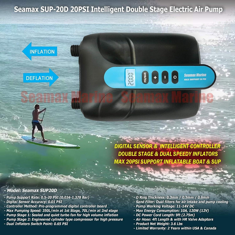 Seamax - Bomba de Aire eléctrica de Doble Fase Digital de 20 PSI, 12 V, diseñada para Barco Hinchable, Sup y Tabla de Pala, rápida para Llegar a Alta ...