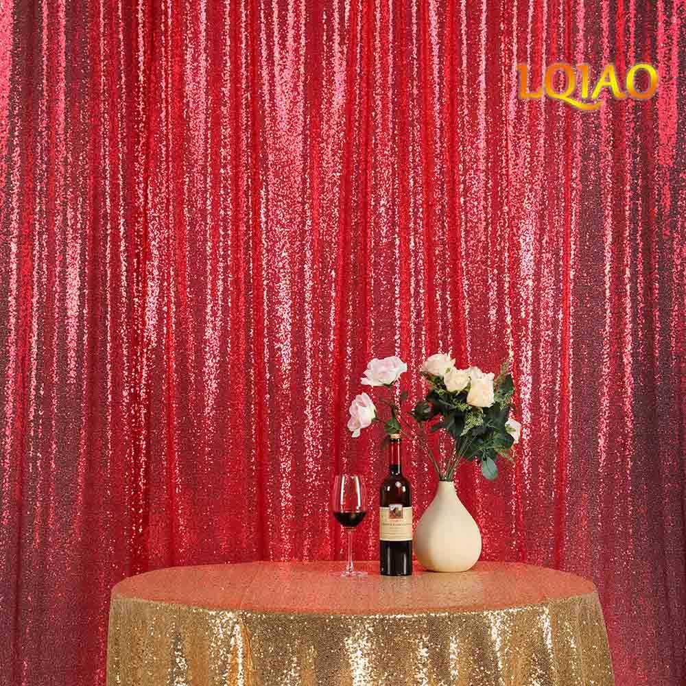 LQIAO Embroidered Sequin Fabric Backdrop Curtain 8FTx8FT Red Modern Window Drapes Sequin Curtain for living room/photo booth backdrop