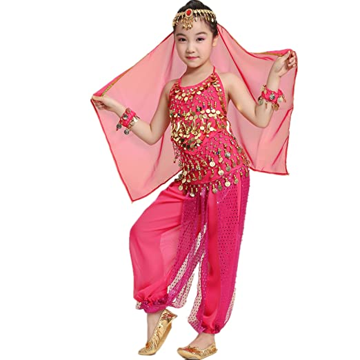 be989bd10d5 MUNAFIE Children Belly Dance Costumes Fancy Party Cosplay Costumes  Halloween Dance Sets(Small