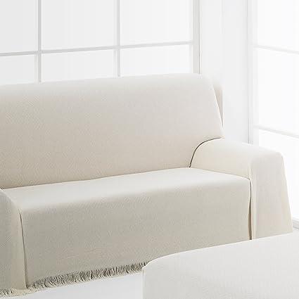 Frenessa Colcha Multiusos Foulard para Sofá, 125x180cm Color Crudo (Varios tamaños y Colores Disponibles)