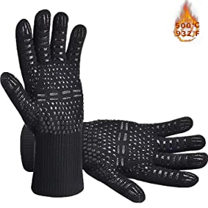 Senders BBQ Grill Gloves, 932°F Extreme Heat Resistant Oven Mitts, Silicone Non-Slip Kitchen Cooking Gloves for Barbecue, Cooking, Baking, Grilling, BBQ, 1 Pair