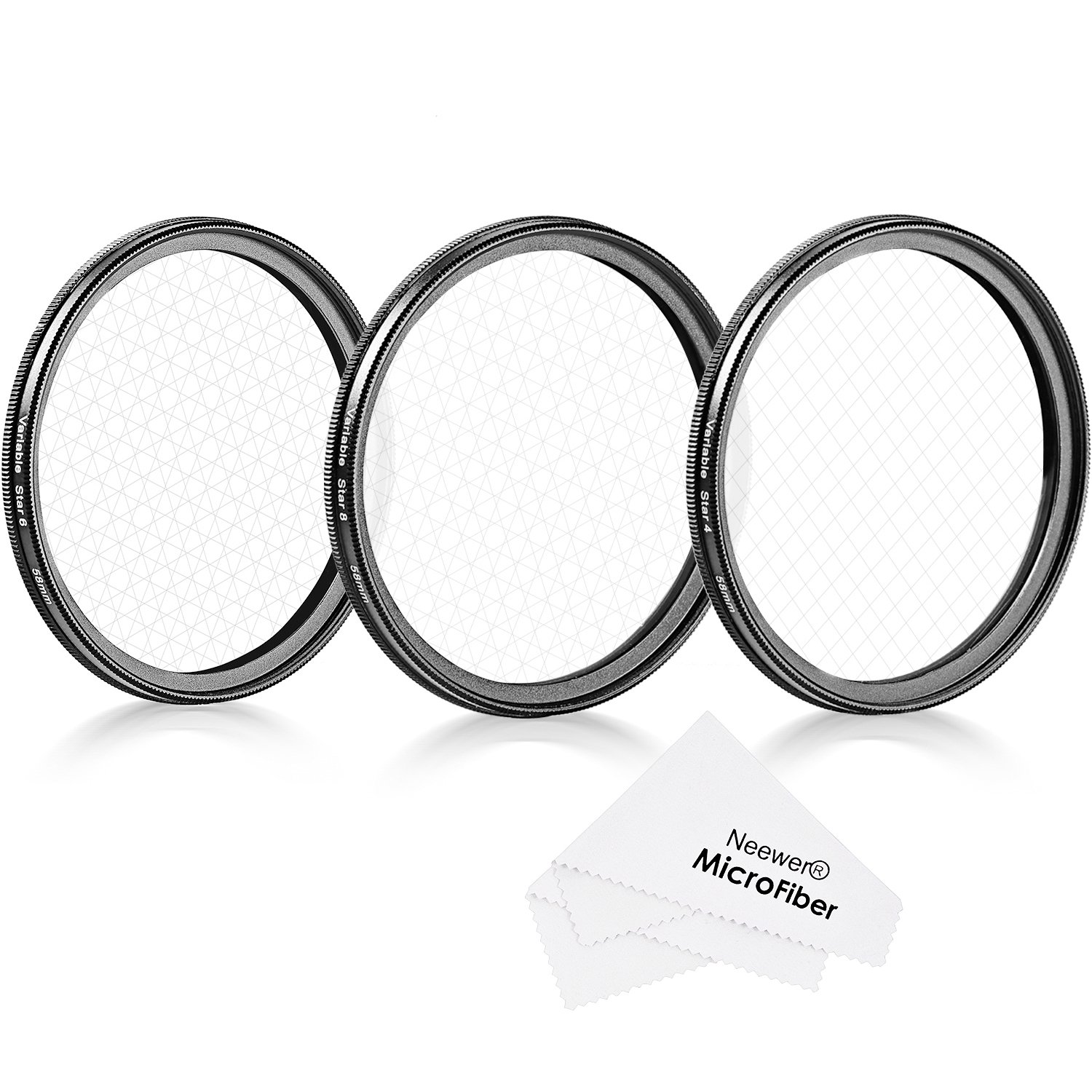 Neewer 58mm Rotated Star Filter Set for Canon Nikon Sony Olympus and Other DSLR Cameras, Includes: 58mm Rotated 4-Point, 6-Point and 8-Point Star Cross Filter with Microfiber Cleaning Cloth by Neewer