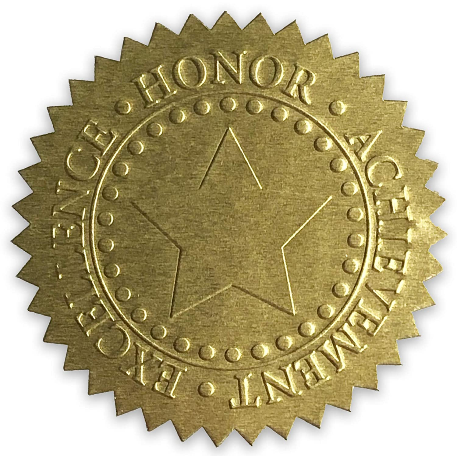 Embossed gold foil certificate seals excellence honor achievement award stickers 2 diameter 100 pack