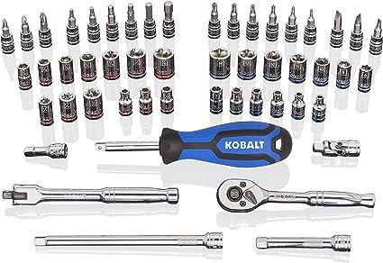 SAE and Metric Polished Chrome Mechanic/'s Tool Set Kobalt 51-Piece Standard