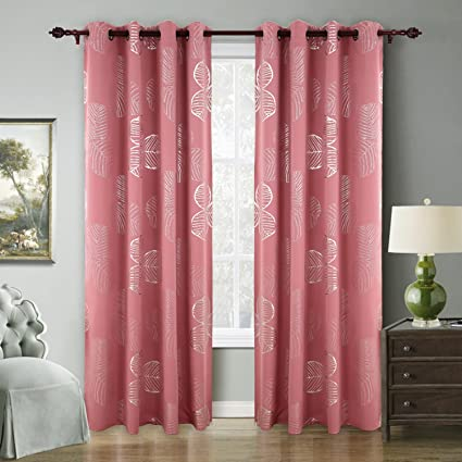 Deconovo Curtains For Bedroom Pink Blackout Curtains Goat Willow Leaf  Printed Cute Room Darkening Window Curtains