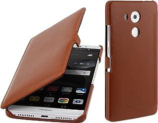 StilGut Book Type Case con Clip, custodia in pelle per Huawei Mate 8 & Mate 8 Dual SIM con funzione smart cover, Cognac
