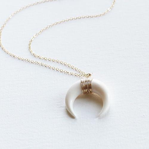 minimal pendant necklace gemstones necklace layere modern necklace ox  horn necklace crescent moon necklace Horn necklace