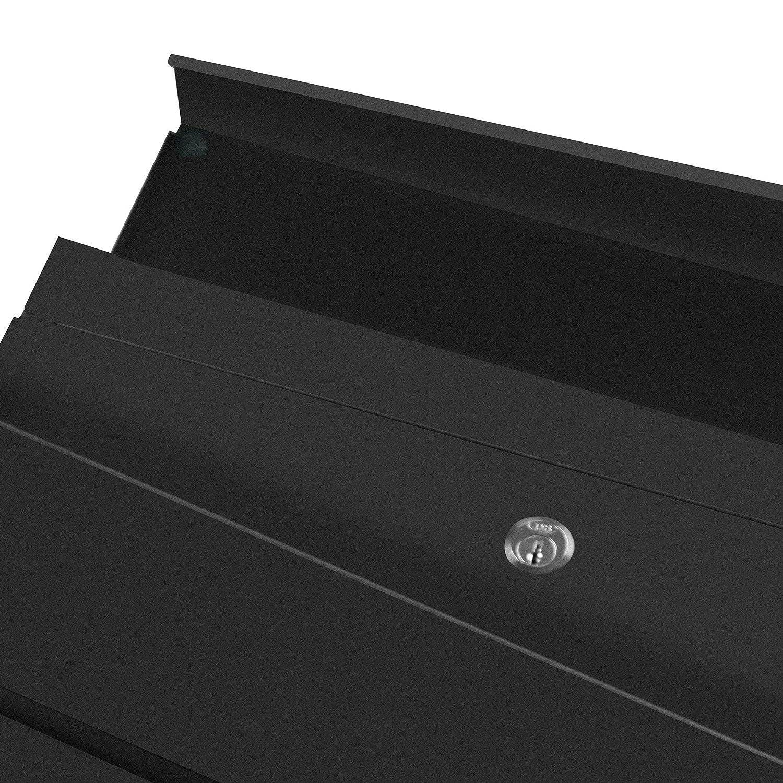 mit Zeitungsfach WEBIN Briefkasten Verzinkter Stahl mit Kunststoffpulver Beschichtet 2 Schl/üssel Namensschild Abschlie/ßbar Sichtfenster