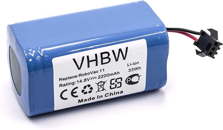 vhbw Batería compatible con Eufy Robovac 11, 11S robot aspiradora reemplaza Eufy 4INR/19/66 -(Li-Ion, 2200mAh, 14.8V) -Batería de repuesto: Amazon.es: Hogar