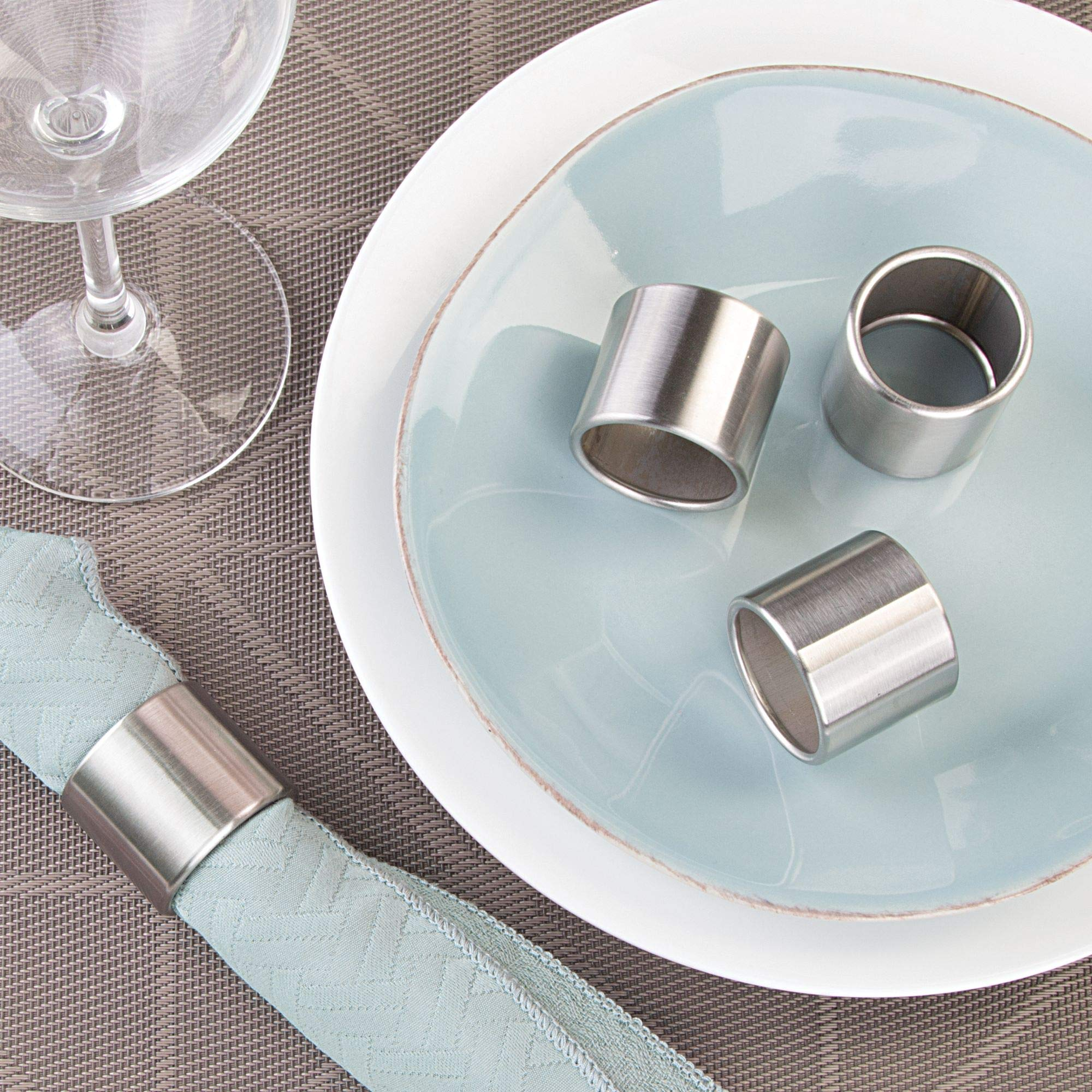 mDesign Napkin Rings for Home, Kitchen, Dining Room - Pack of 8, Brushed Stainless Steel by mDesign (Image #3)