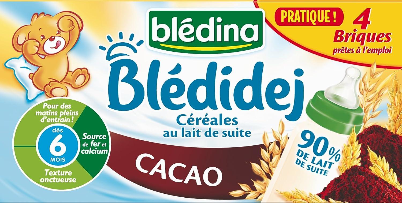 Blédina Blédidej Céréales au Lait de suite Cacao dès 6 mois 4 x 250 ml - Pack de 3 555086