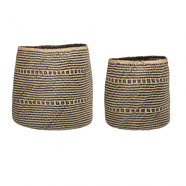 Bloomingville Basket, Nature, Seagrass Ø 38xH38/Ø 47xH44 cm, Set of 2