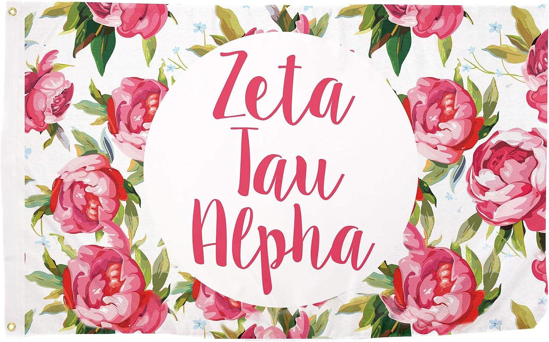 Zeta Tau Alpha Rose Sorority Flag Greek Letter Banner Large 3 feet x 5 feet Sign Decor ZTA (Flag - Rose)