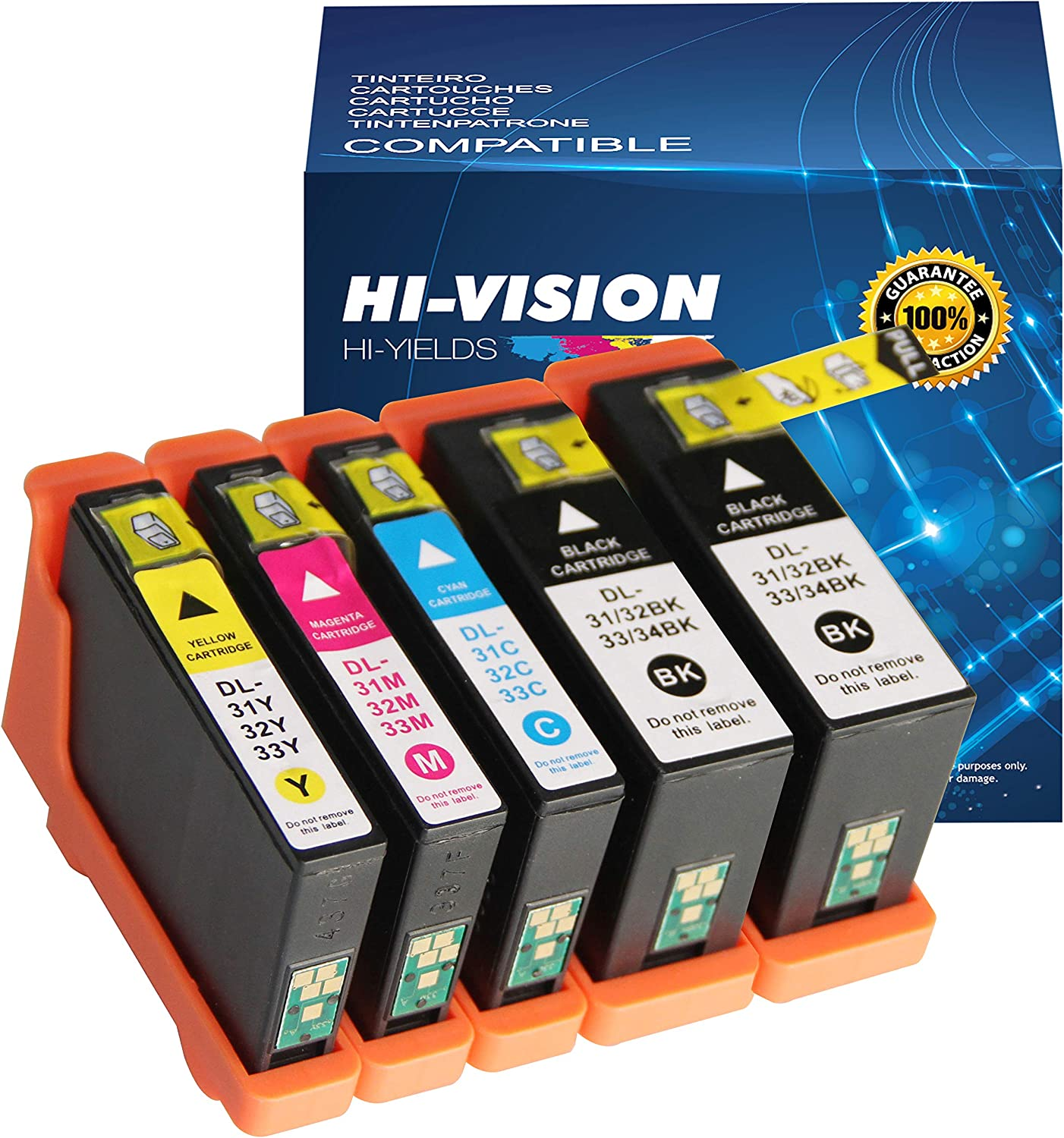 HI-Vision Compatible Ink Cartridge Replacement for Dell Series 31 32 33 34 to use with Dell V525W, V725W Printers All-in-One Wireless Inkjet Printer(2 Black, 1 Cyan, 1 Magenta, 1 Yellow)5 Pack