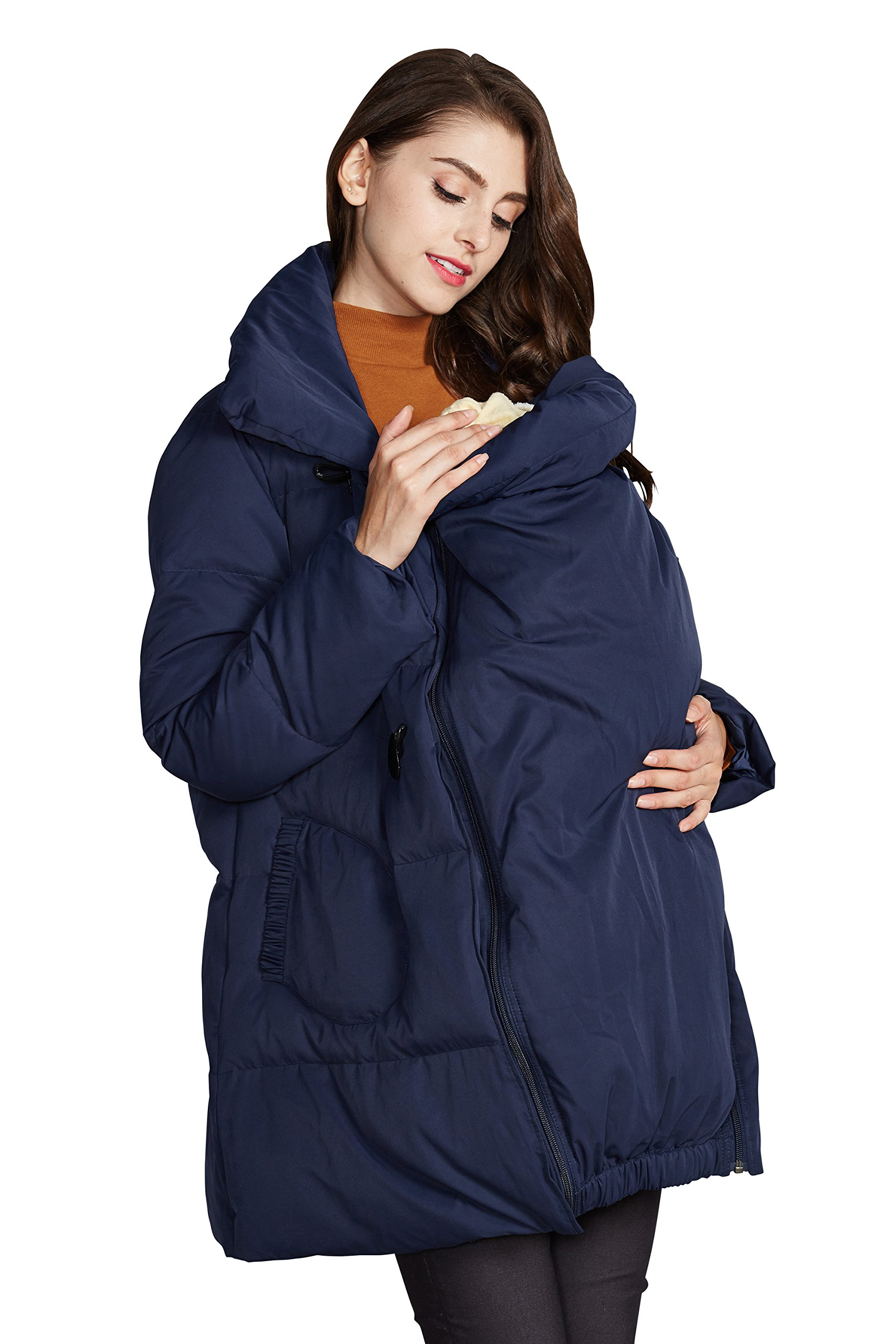 Sweet Mommy Maternity and Mother's Down Duffle Coat with baby wearing pouch Navy, M