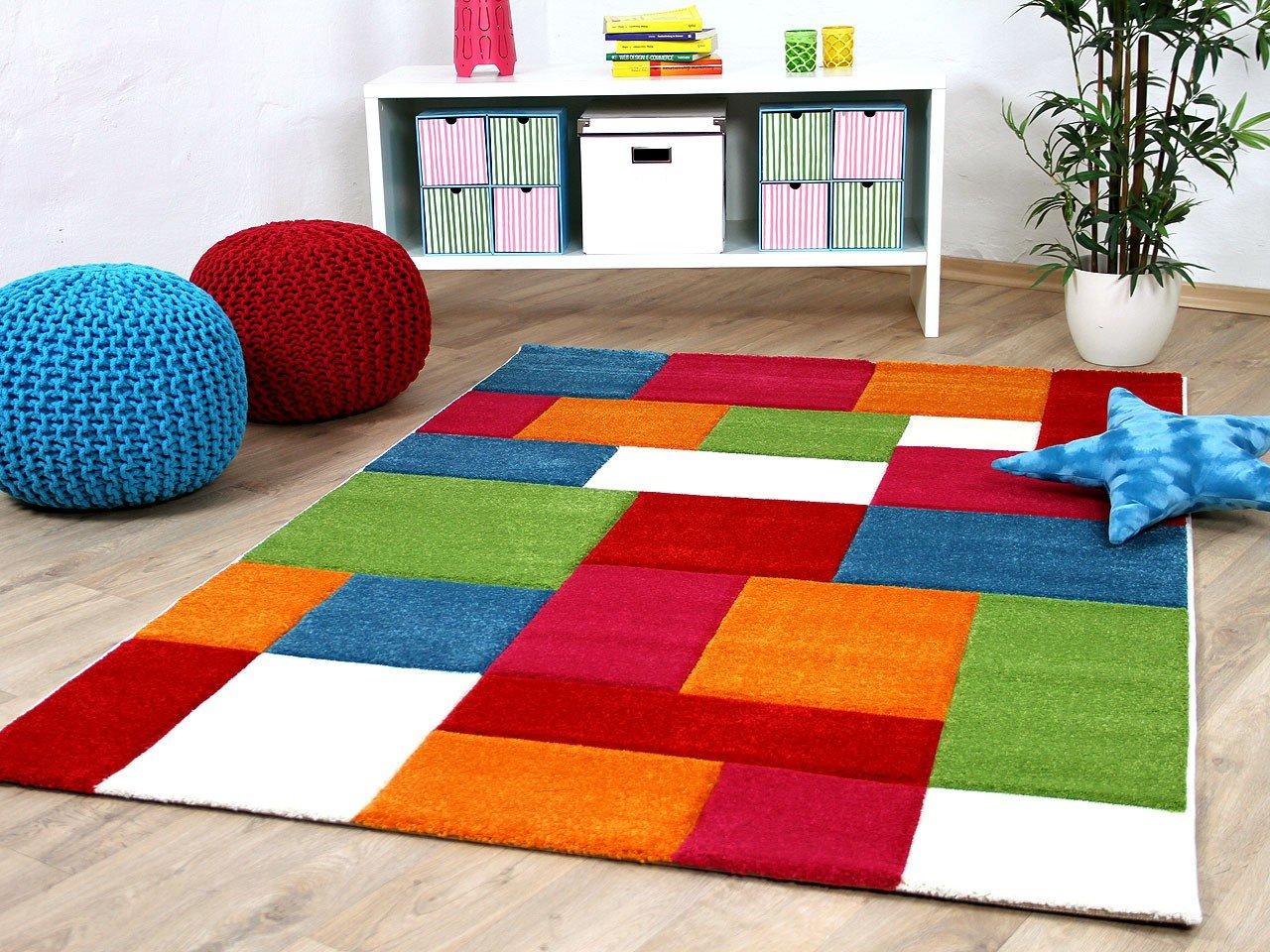 Kinder Teppich Savona Kids Karo Bunt Design Multicolour in 5 Größen