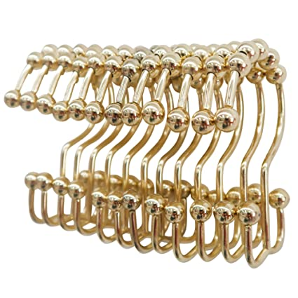 TOAOB 12 Piece Easy Install Rustproof Gold Shower Curtain Hooks Stainless Steel Metal Double Glide