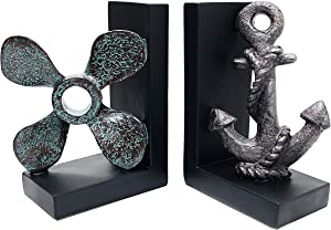 """Royal Brands Decorative Bookends - Nautical Decoration Bookends (Pair) - Anchor and Propeller Bookends - Great Gift and Perfect for Holding Books, DVDs or CDs (3"""" x 5.5"""" x 8"""")"""