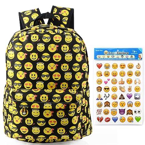 3fc768d2f1 Toyfun QQ - Zaino in tela con stampa smile, zaino da viaggio, scuola ...