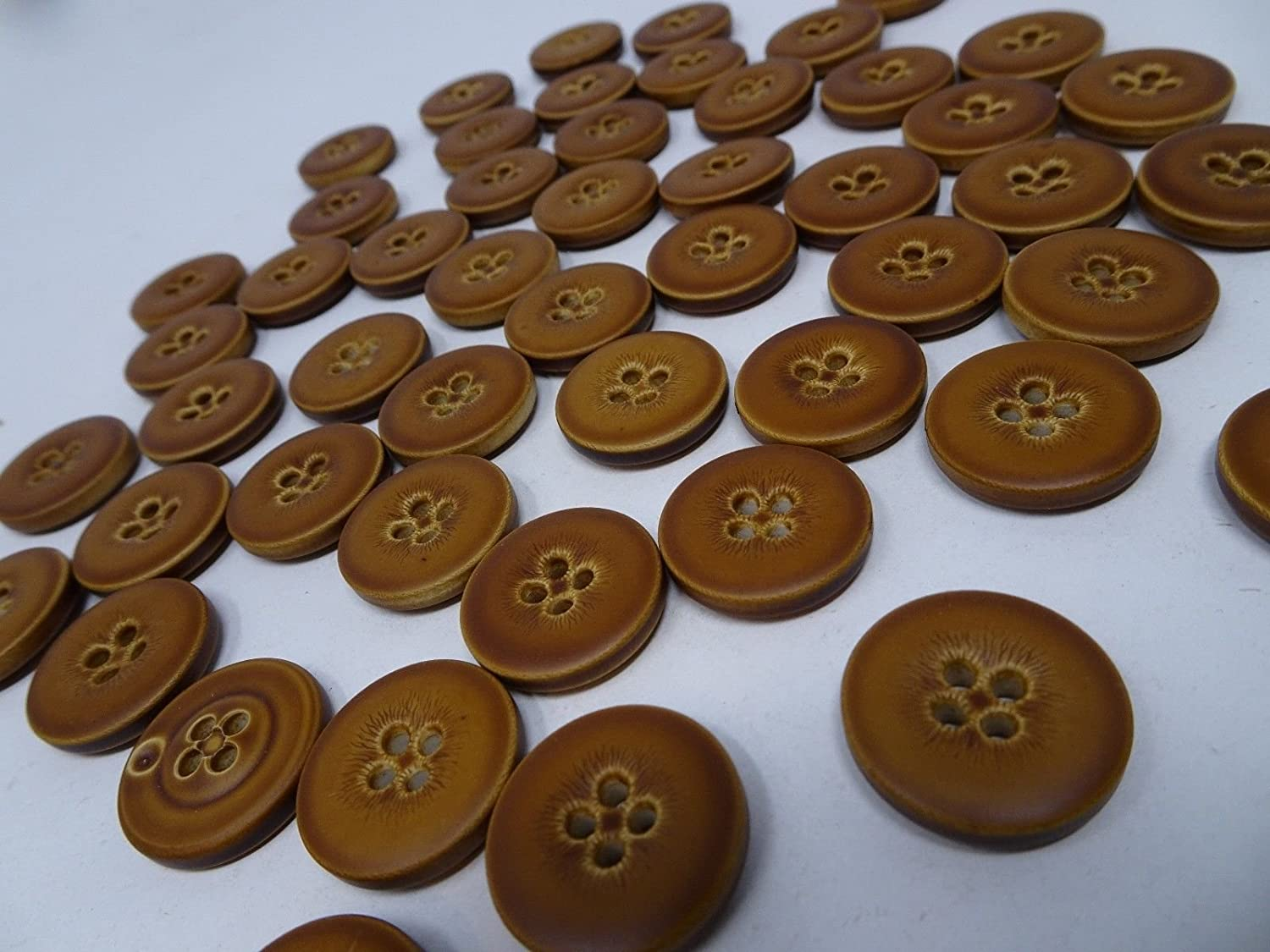 Vintage Faux Leather 4-Hole Buttons 20mm Lot of 10 B59-6