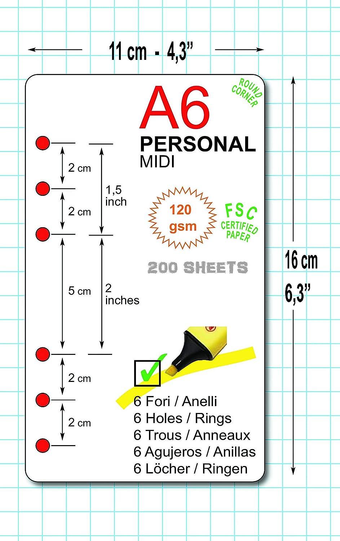 200 Blatt Nachf/üllung f/ür Agenda mit 6 Ringe A6 Personal 10x17cm - kariert 5 mm ivory 120g//m