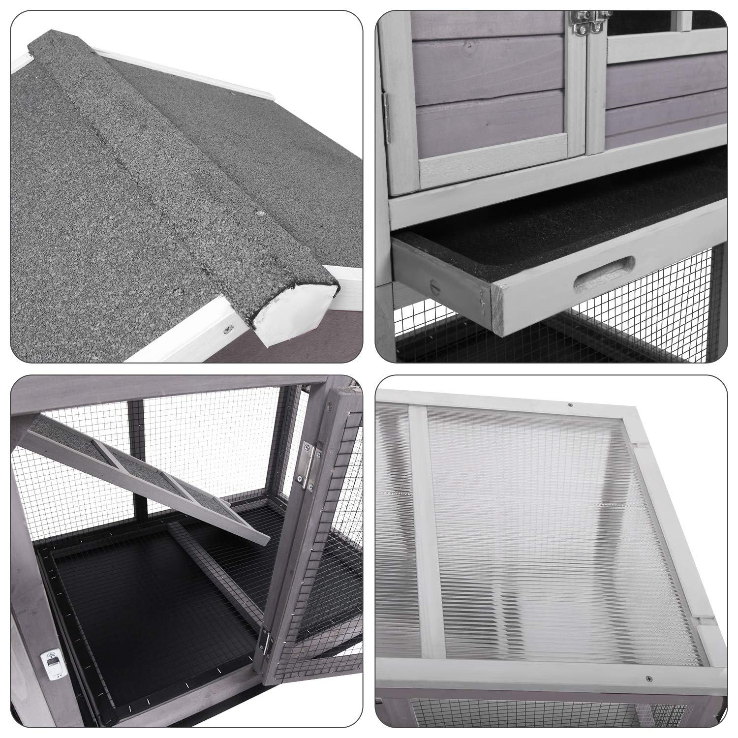 Aivituvin Chicken Coop Indoor and Outdoor,Rabbit Hutch with Removable Bottom Wire Mesh & PVC Layer,Deeper No LeakageTray,Wooden Hen House with Nesting Box,UV Panel by Aivituvin (Image #3)