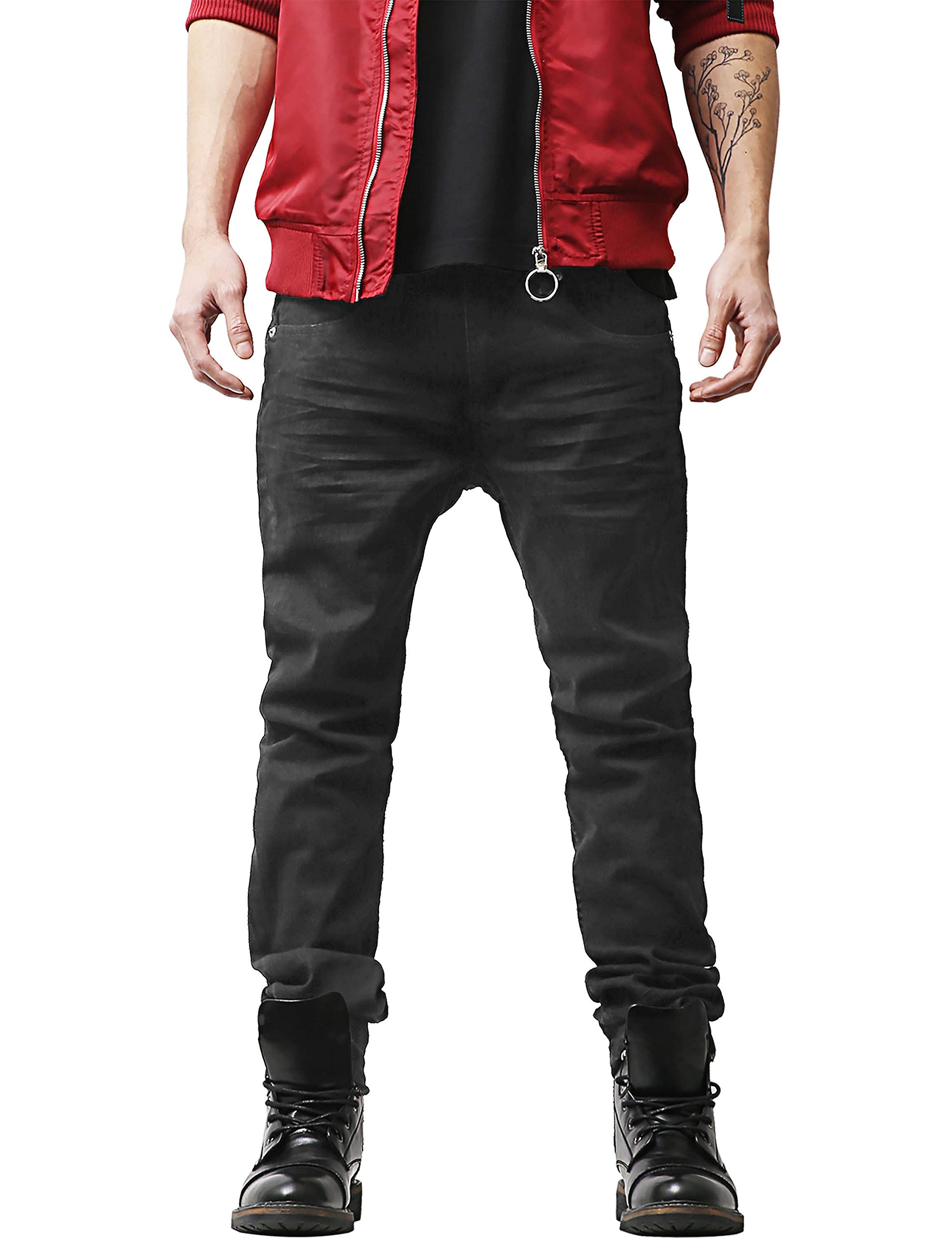 Hat and Beyond HB Mens Jeans Casual Denim Slim Fit Stretch Pants (42X32, 029.blackbaked)