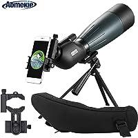 Aomekie Telescopio Terrestre 20-60X80 Impermeable Monocular BAK4 con Soporte para Trípode Clip de Teléfono Móvil para la Adecuado