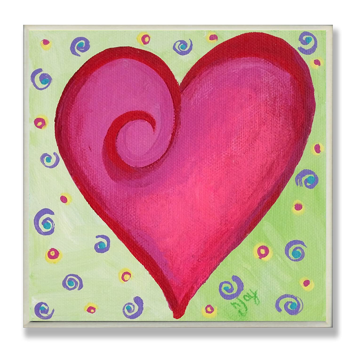 The Kids Room by Stupell Red Heart on Green Background Square Wall Plaque