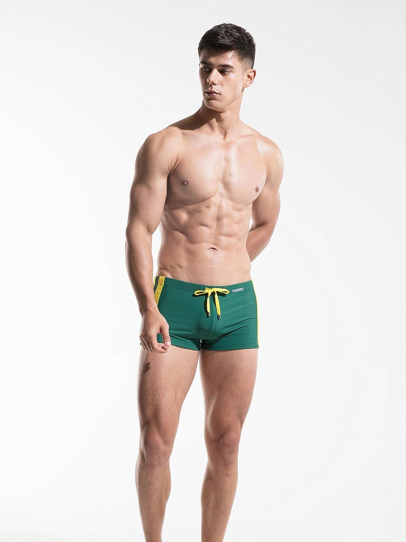 e07599689e Amazon.com: DESMIIT Men's Rope Waist Design Swimming Shorts Red US X-Small  Asian M: Clothing