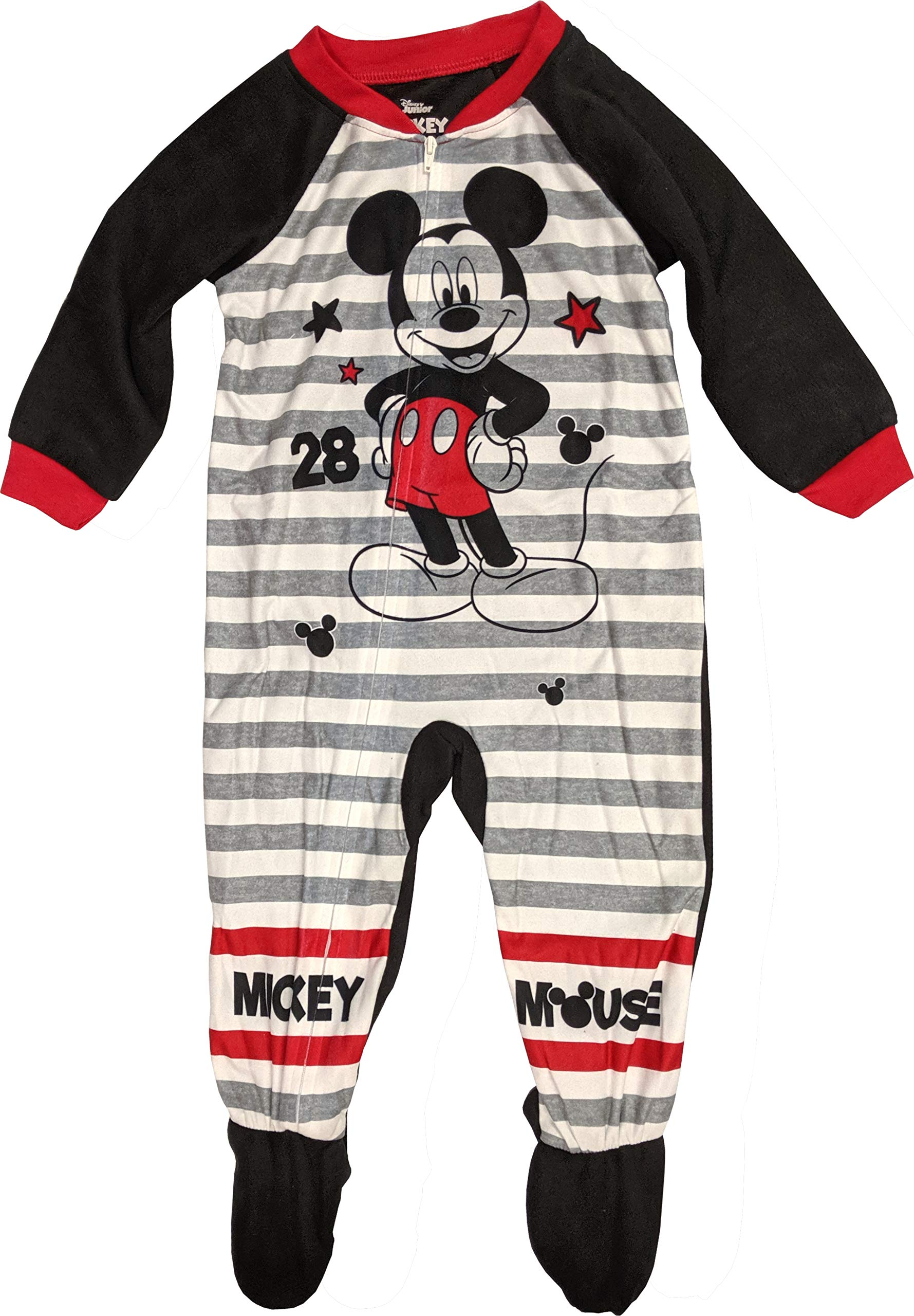 Mickey Mouse Pajamas Footed Blanket Sleeper for Toddlers (2T) Grey/White by Disney