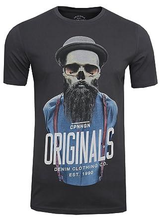 JACK & JONES Herren T-Shirt JORART Funny Skull Tee Crew Neck Print, (
