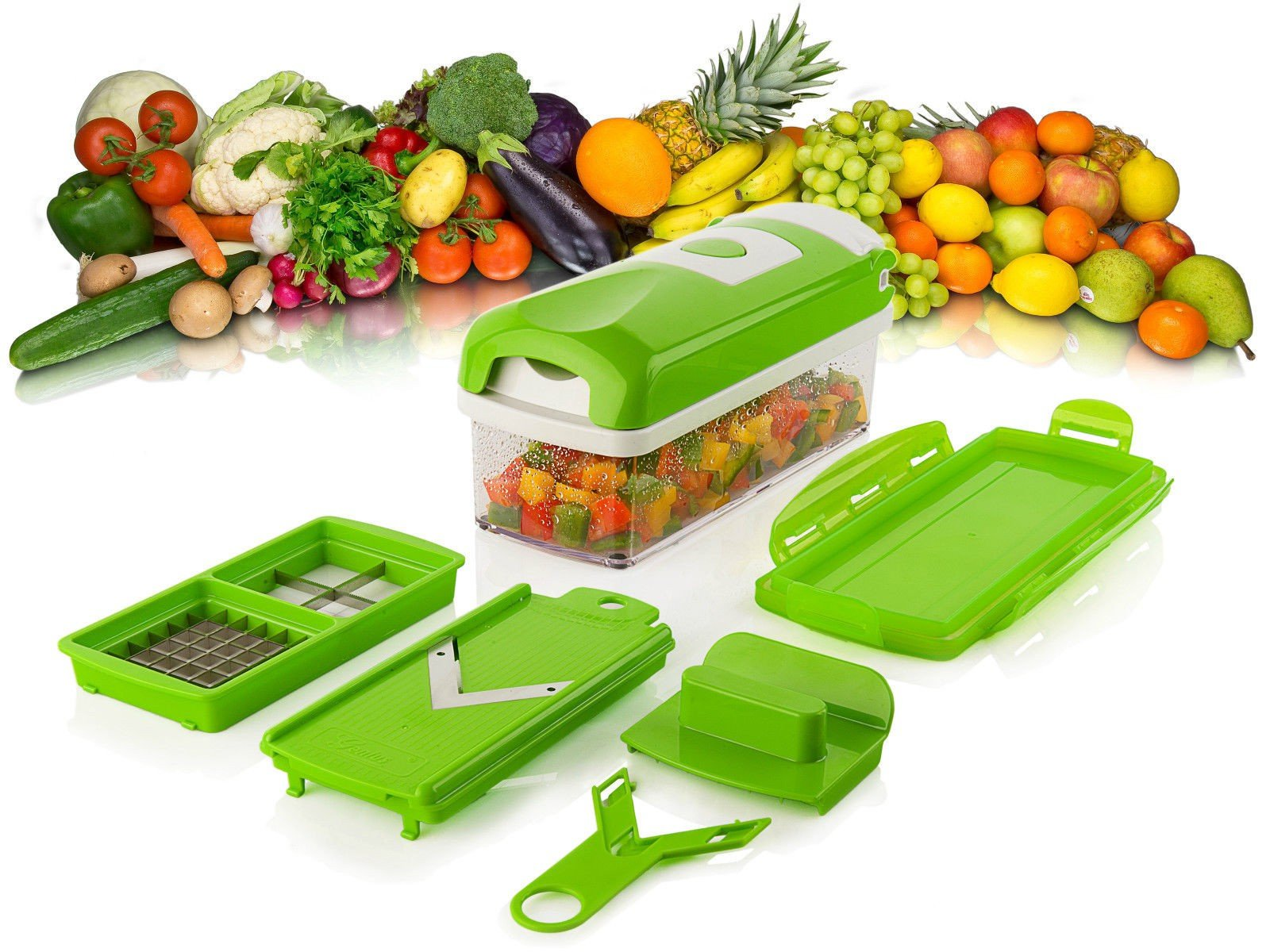 Genius Nicer Dicer Plus Compact 7 Piece Dicing Set Vegetable Fruit Multi Slicer Green Buy Online In China At China Desertcart Com Productid 60488118
