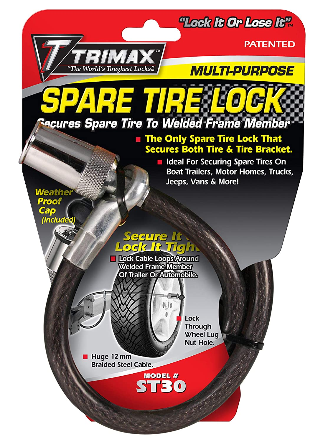 Trimax ST30 Trimaflex Spare Tire Cable Lock 36 x 12mm Round Key