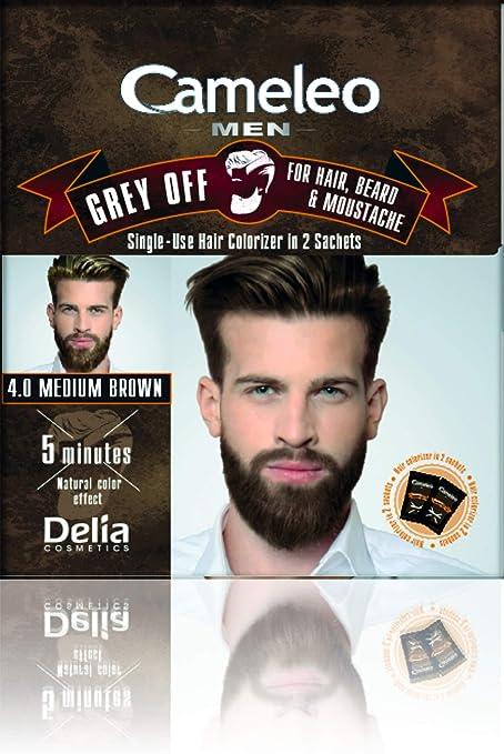 Cameleo Men Color Cream Grey OFF Colorizador de un solo uso en 2 sobres para cabello, barba y bigote 5 min. Efecto de color natural! 0% Parabenos ...